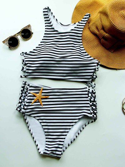Striped High Waisted Bikini With Crop Top - White And Black