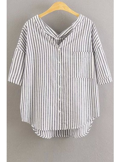 Oversized Striped Pocket Blouse - White S