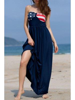 Impreso Tirantes Holgada Vestido Maxi - Azul