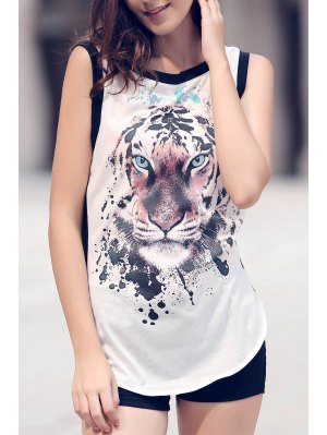 Animal Print Round Neck Sleeveless Tank Top - White