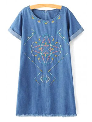Rolled Sleeve Embroidered Straight Dress - Blue