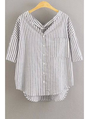 Oversized Striped Pocket Blouse - White