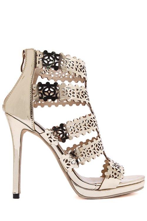 Zip Hollow Out Stiletto Heel Sandals