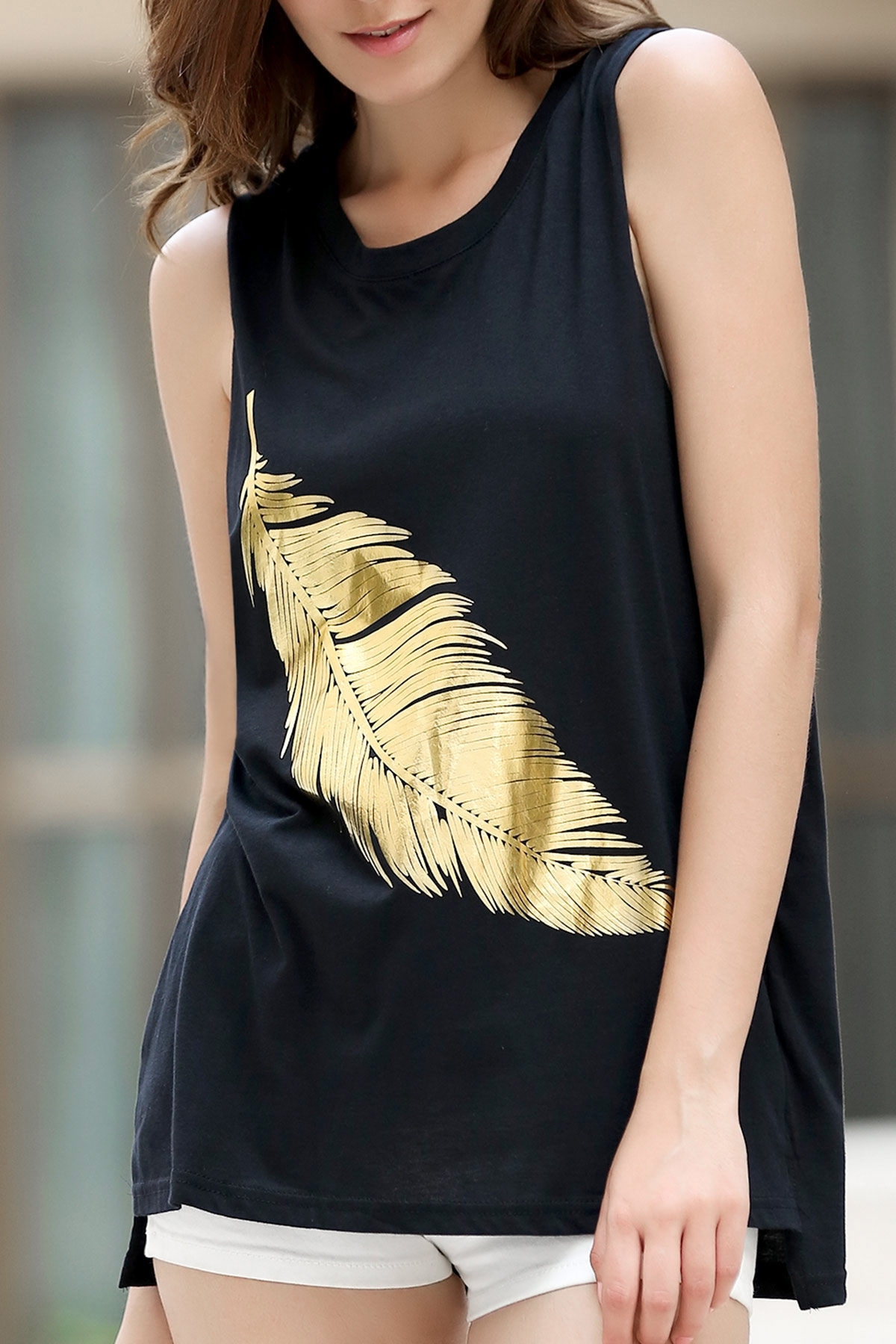 Sparkly Feather Pattern Black Tank Top