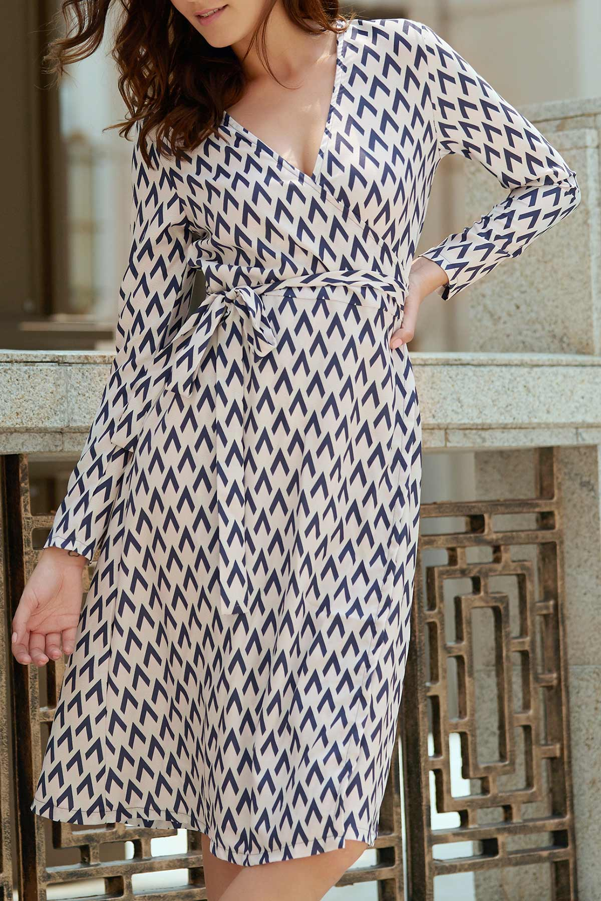Long Sleeve Houndstooth Print Wrap Dress