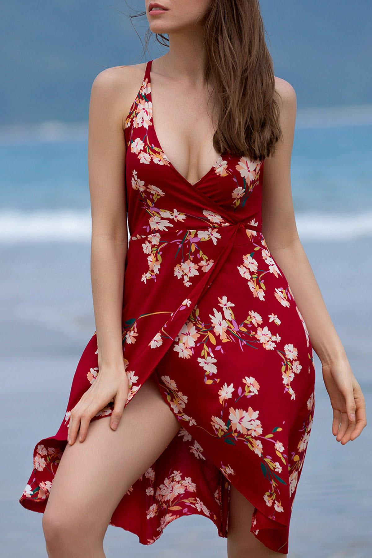 Spaghetti Straps Sleeveless Backless Floral Print Dress