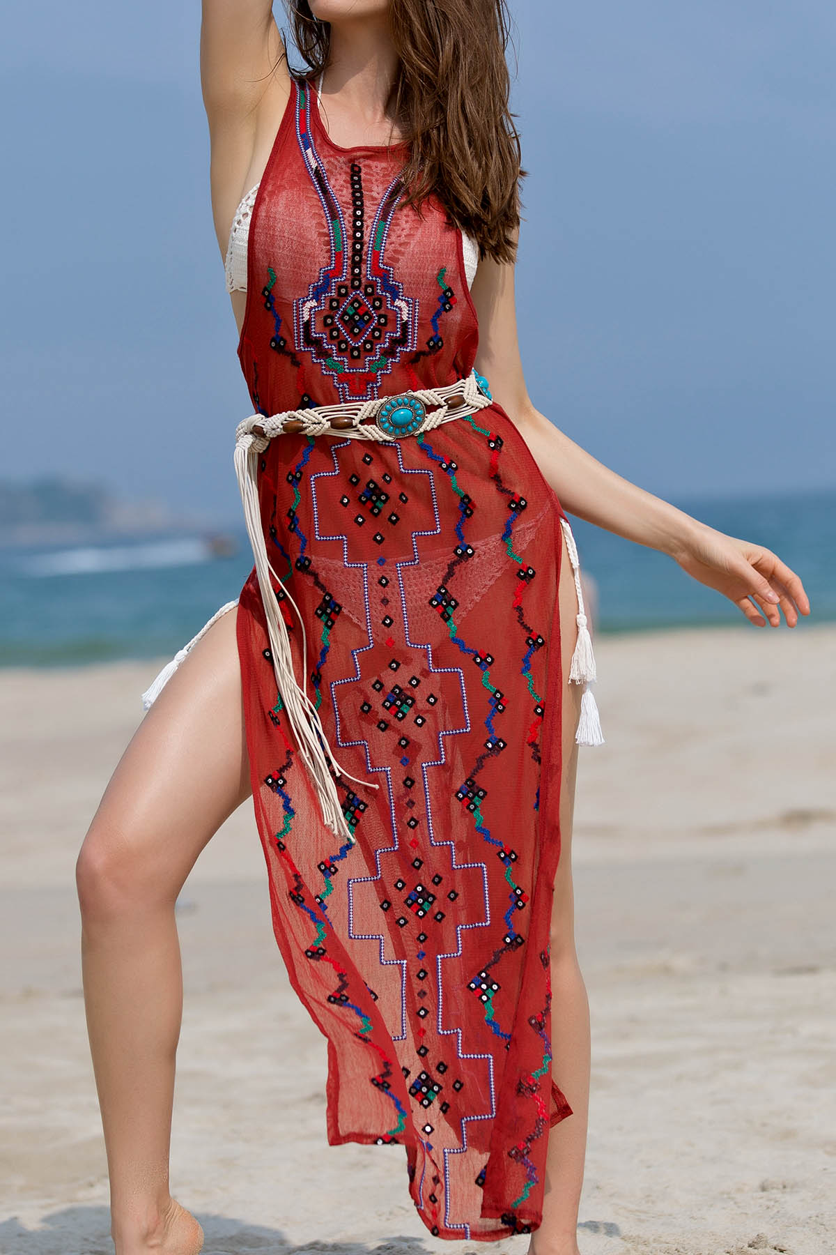 Embroidered Beading High Slit Tank Dress