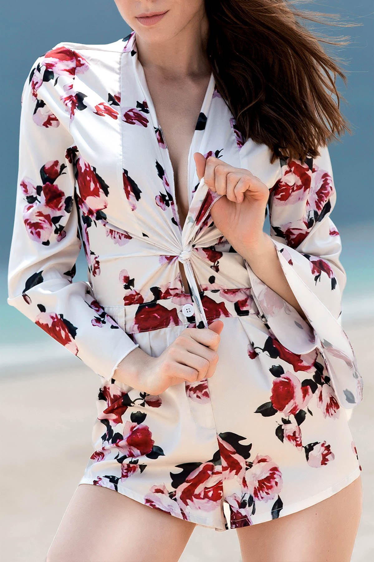 Plunging Neck Bell Sleeve Floral Print Tie Front Romper