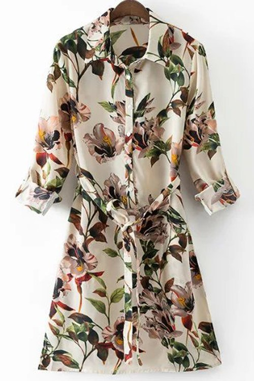 Image of Floral Print Shirt Collar Long Sleeve Belted Shirt Dress