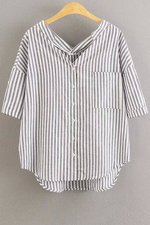 3/4 Sleeve Striped Loose Fitting Blouse