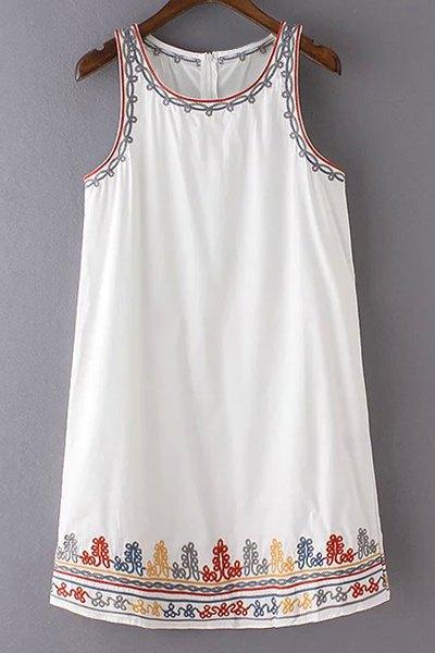 Round Collar Sleeveless Embroidery Dress