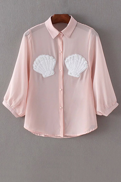Shell Pattern Faux Pearl Button Chiffon Shirt