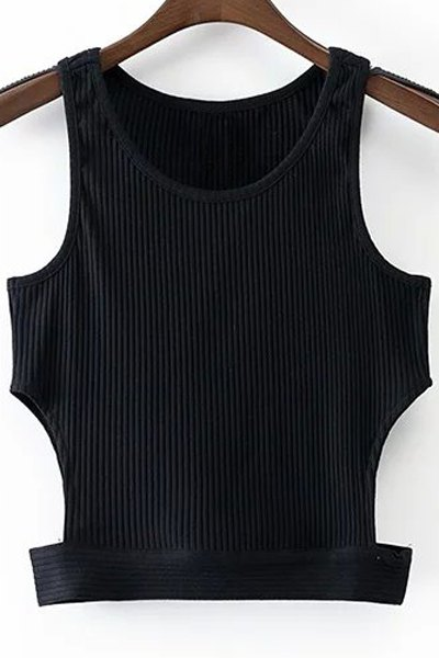 Round Collar Cut Out Black Cropped Tank Top