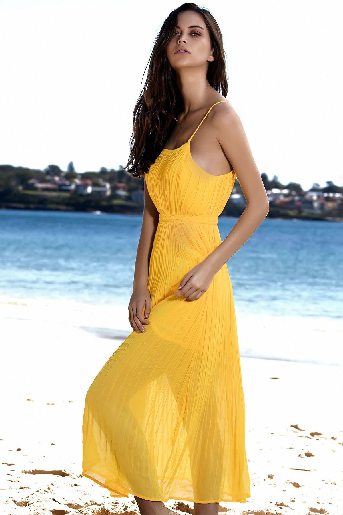 Spaghetti Strap Pleated Yellow Dress