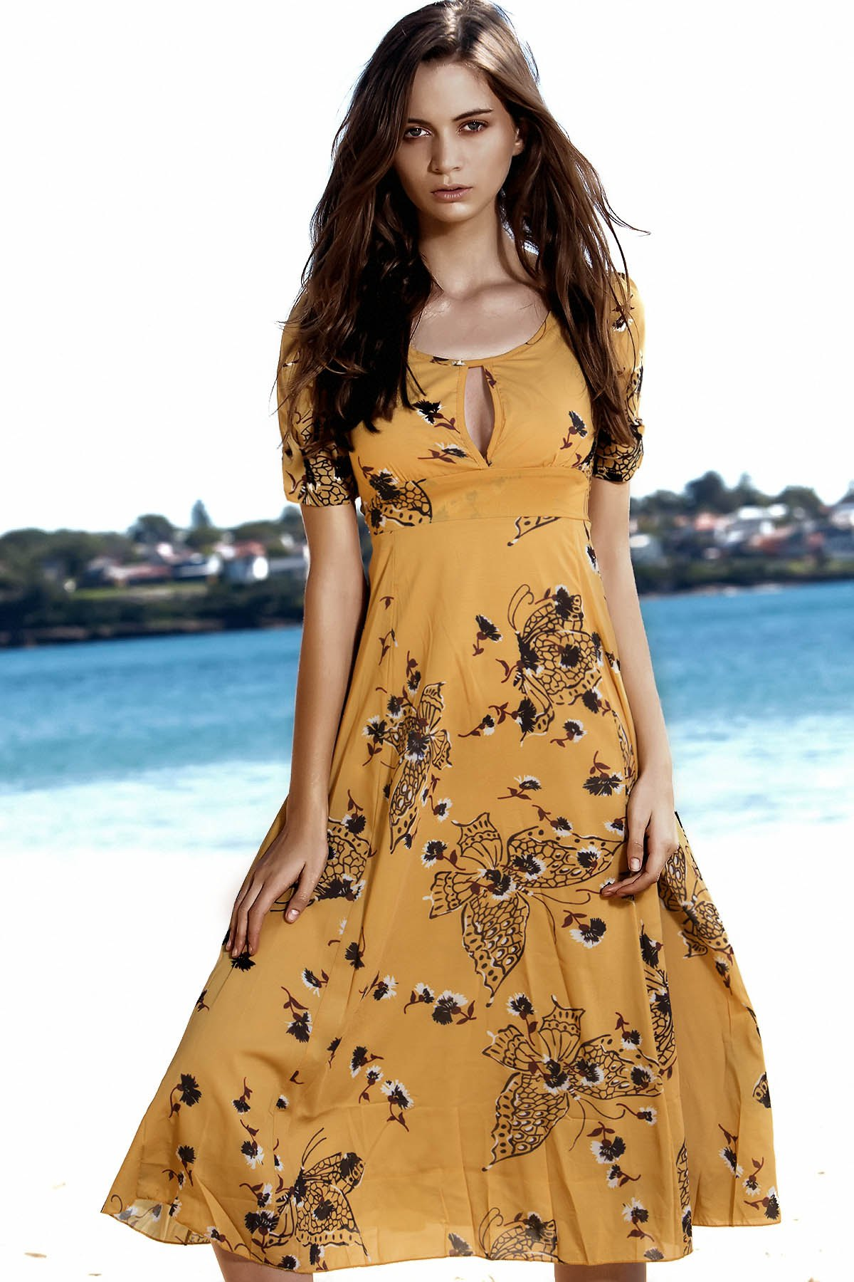 Round Neck Short Sleeve Floral Butterfly Print High-Waisted Dress