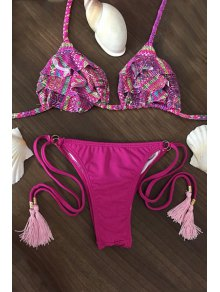 Printed Spaghetti Straps Flouncing String Bikini Set