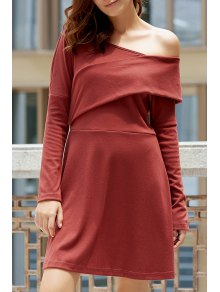 Cold Shoulder Long Sleeve Swingy Dress