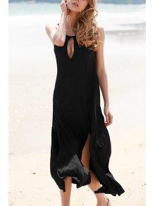 Keyhole Design High Slit Long Dress - Black