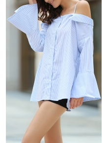 Striped Spaghetti Straps Bell Sleeve Shirt