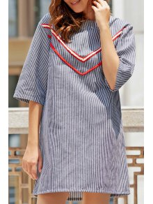 Stripe Round Neck 3/4 Sleeve Cut Out Dress