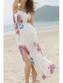 Off-The-Shoulder High Slit Bohemian Dress