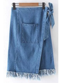 Side Slit Pocket High Waisted Fringes Denim Skirt