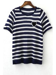 Striped Round Collar Short Sleeve Heart Embroidery T-Shirt