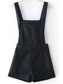 Solid Color Suede Overall Shorts - Black Xl