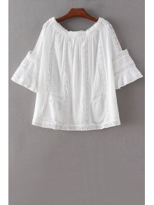 Lace Patchwork Cutout White Blouse