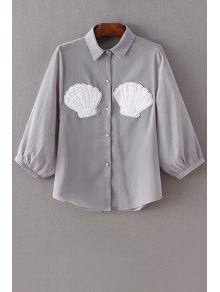 Botón De La Perla De Faux De La Gasa De La Camisa - Gris M