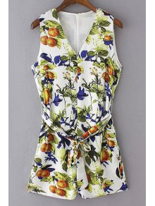 V-Neck Sleeveless Printed Romper