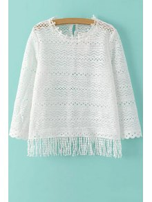 Buy Tassels Spliced Round Collar 3/4 Sleeve Lace T-Shirt - WHITE L