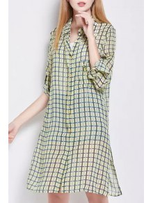 Side Slit Shirt Collar Long Sleeve Plaid Shirt Dress