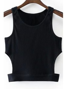 Black Round Collar Cut Out Cropped Tank Top