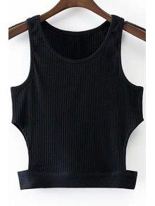 Ronda De Cuello Negro Recortable Recortada Sin Mangas - Negro M
