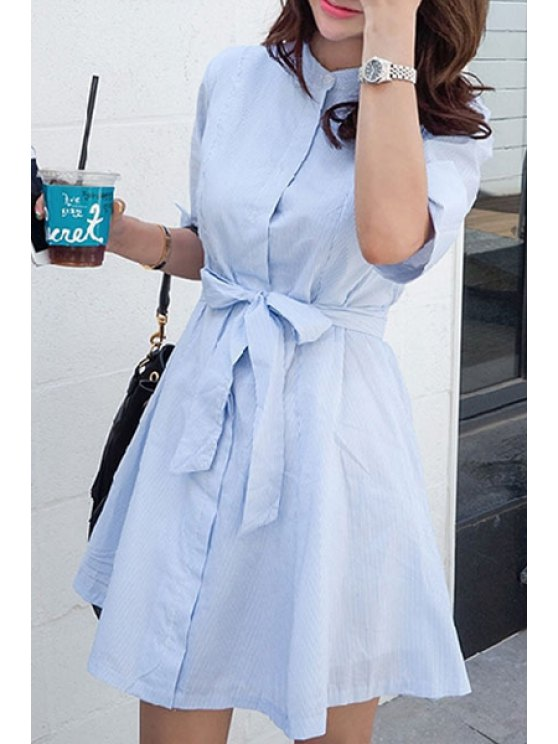 Blue Stripe Stand Neck Half Sleeve Dress - LIGHT BLUE L Mobile