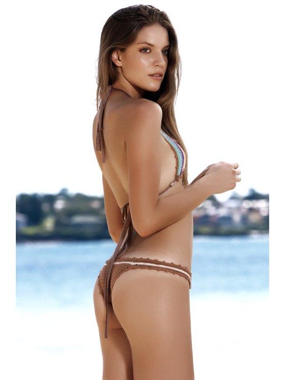 Striped Crochet Bikini Set - AZURE ONE SIZE(FIT SIZE XS TO M) Mobile