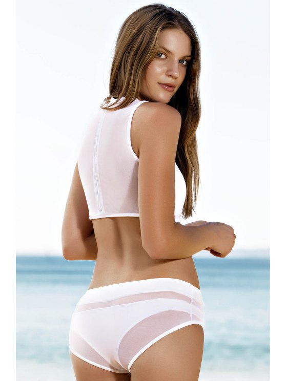 Mesh Design High-Waisted Transparent Swimsuit - WHITE M Mobile