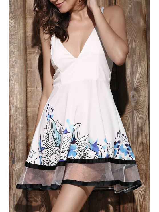 womens Floral Print Camisole Party Dress - WHITE S