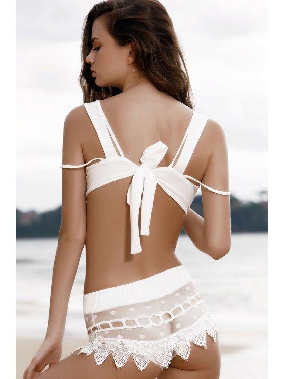 Cami Lace Spliced Bikini Set - WHITE XL Mobile