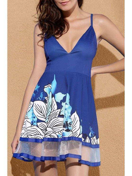 Floral Print Party Dress Camisole - Bleu S