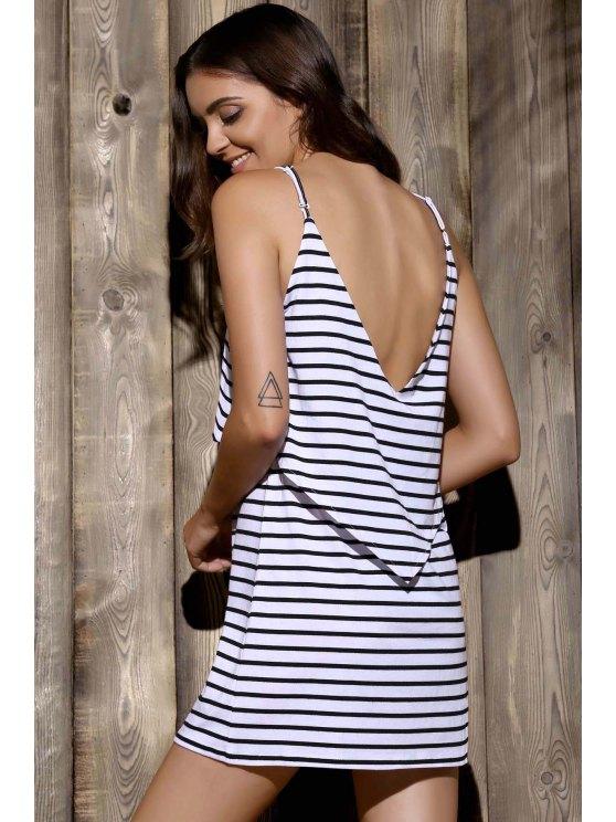 Striped Cami Dress - WHITE S Mobile