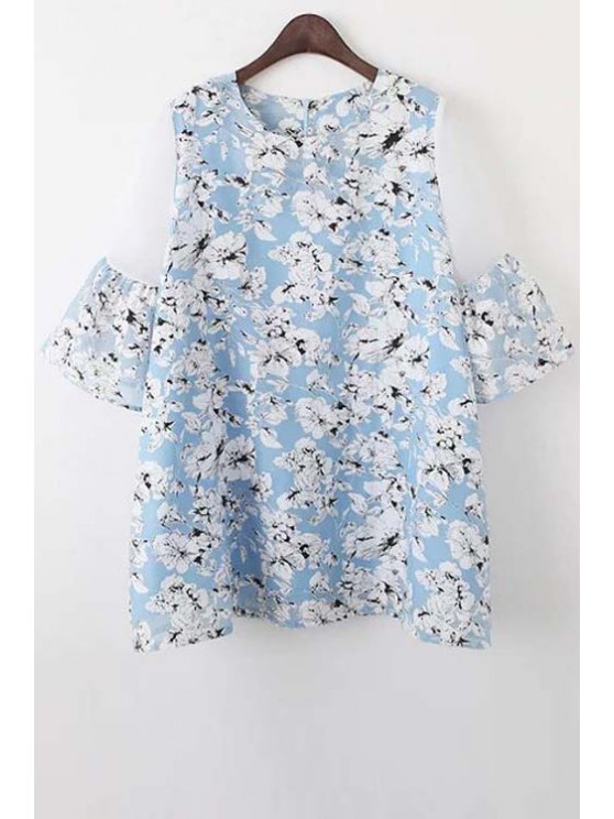 women's Organza Spliced Sleeve Round Collar Floral Print Dress - LIGHT BLUE S