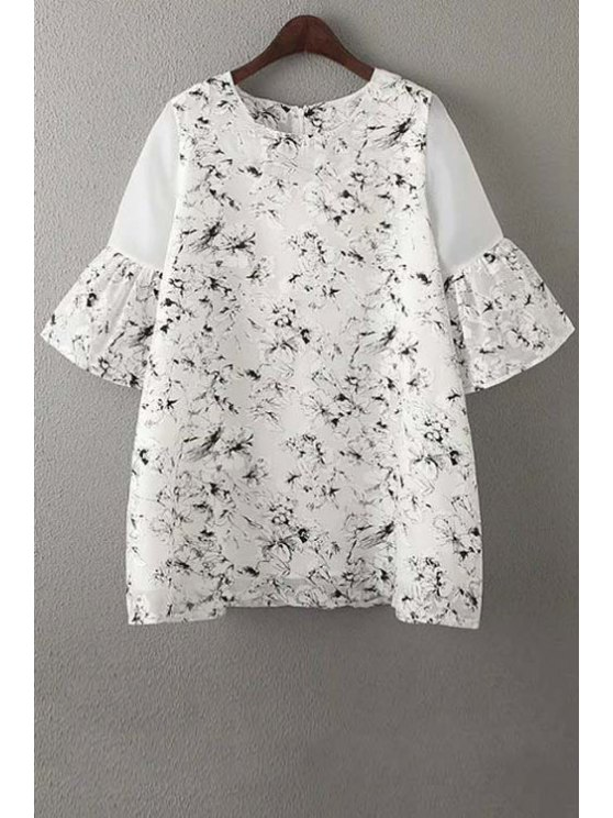 best Organza Spliced Sleeve Round Collar Floral Print Dress - WHITE S