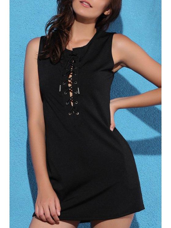 women's Black Plunging Neck Sleeveless Lace Up Dress - BLACK XL