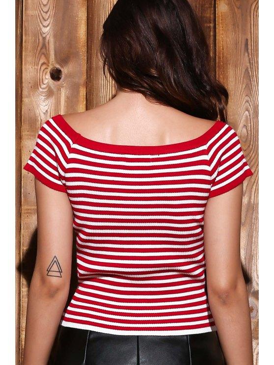 Slash Neck Striped Knit T-Shirt - RED S Mobile