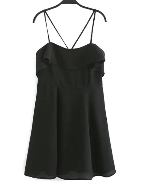 shop Backless Spaghetti Straps Flouncing Dress - BLACK M