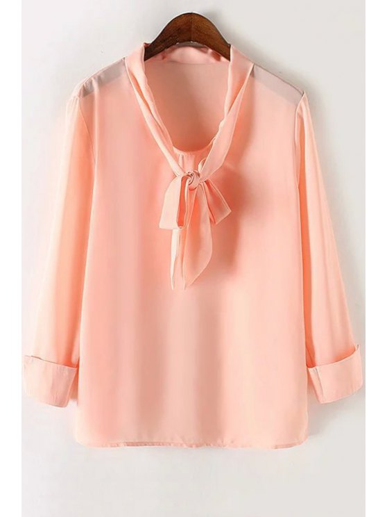 fancy Solid Color Bow Tie Collar Long Sleeve Blouse - PINK S