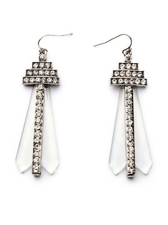 Rhinestone Faux Gem Earrings - Argent