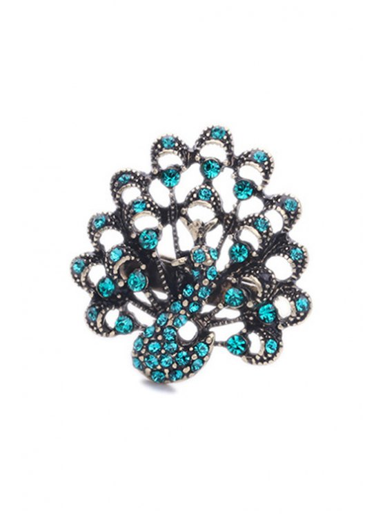 Rhinestone Peacock Shape Ring - TIFFANY BLUE  Mobile